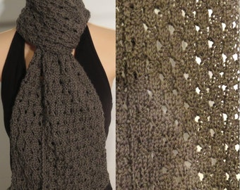 Hand Knit Merino Wool Linen Scarf Taupe