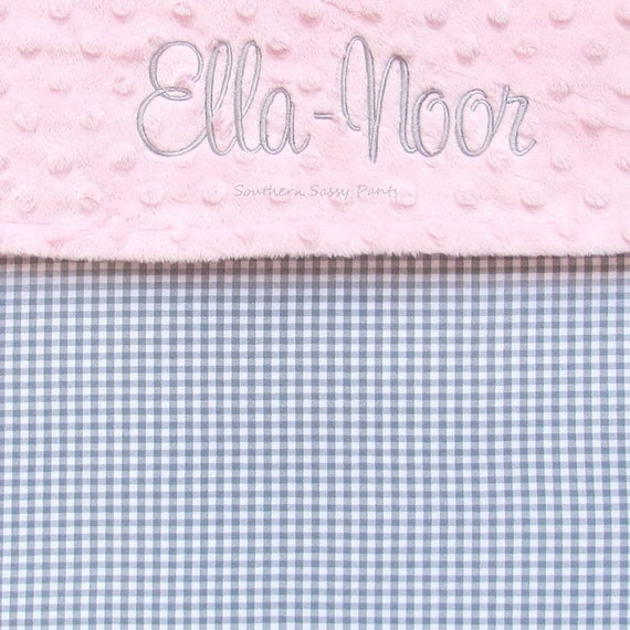 Personalized Grey Baby Blanket , Gray Gingham and Minky Baby Blanket - Perfect for Baby Boy or Baby Girl , Gender Neutral