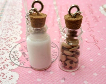 Milk and Cookies Best Friend Necklace Set: BFF Forever; Miniature Food Jewelry, Polymer Clay Food