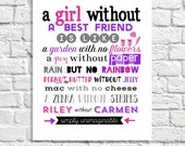 Best Friend Gift Best Friend Keepsake Unique Going Away Gift Goodbye Gift Personalized Best Friend Birthday Gift Idea Tween Decor Art Print