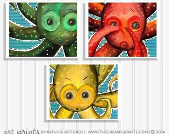 Octopus Nursery Art Set Of 3 Prints Baby Sea Animals Pictures For Bathroom Decor Kids Ocean Illustration Childrens Wall Art Boy Room Posters