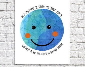 Positive Quote Print Smiley Face Art For Children Classroom Inspirational Art Earth Day Picture School Poster Kindergarten Decor Kid Artwork