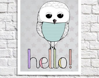 Gray Nursery Decor Hello Art Modern Nursery Wall Art Quirky Print Owl Illustration Gender Neutral Baby Gift Children's Room Idea Girl Or Boy