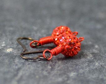 Sparkly Tangerine Orange Swarovski Crystal Pave Bead Earrings