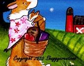 Pembroke Welsh Corgi Art Print - Illustrative Art - Dog Art Print - Baby Corgi  Farm Night Sky Market Day Print  By Valerie Brock