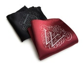 Custom initial pocket square. Marsala red & more. Filigree font. Personalized silkscreened single letter handkerchief. Choose A-Z.