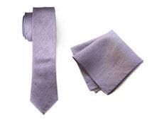 """Pastel purple linen necktie. Lavender silk & linen blend men's tie. """"Purple Gang."""" Bias cut, rustic necktie. Pocket squares available too!"""