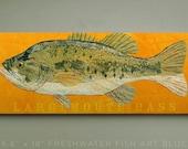 Largemouth Bass Art Block Sign- Lake House Art- Fish Print Gift for Son- Largemouth Bass Print- Bass Fishing Gifts for Men- Dad Gifts