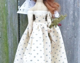Angel Doll Primitive Folk Art Spring