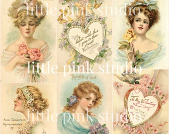 Victorian Valentine, DIGITAL Collage Sheet, instant download, printable