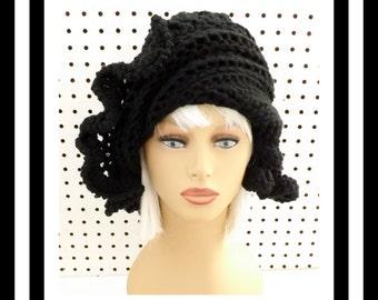 Winter Womens Beanie, Black Crochet Hat Womens Hat Trendy, Cynthia Ruffle Hat, Crochet Beanie  Hat Women, Black Hat, Womens Winter Hat Women