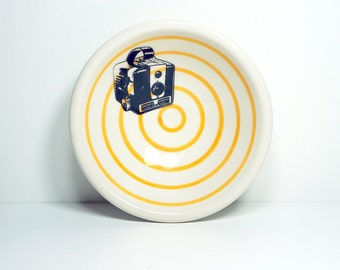 small dish, with a brownie camera shown here on orange pinstripes, made to order / pick your colour