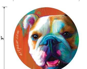 English Bulldog Round Sticker 3 inch Vinyl