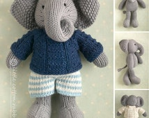 Knitted Toy knitting pattern for a boy elephant in a textured sweater