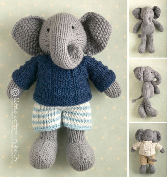 Free Animal Knitting Patterns : Toy knitting pattern for a boy elephant in a textured sweater