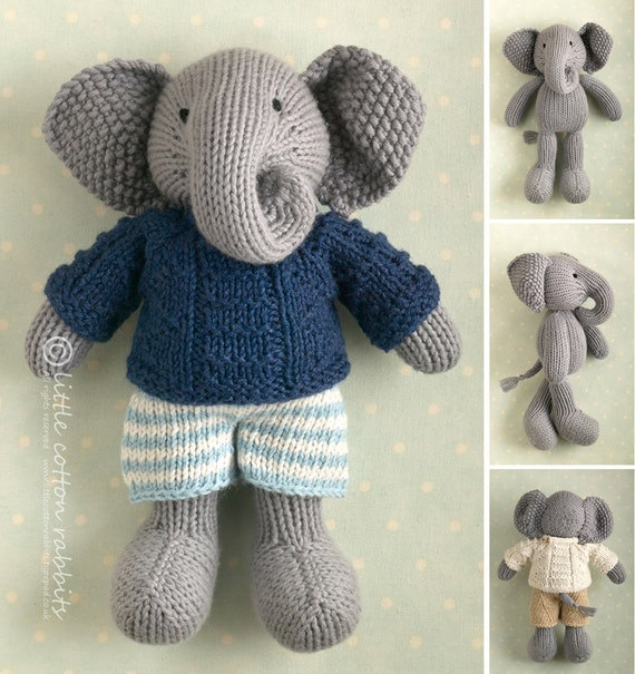 Animal Hoodie Knitting Pattern : Toy knitting pattern for a boy elephant in a textured sweater
