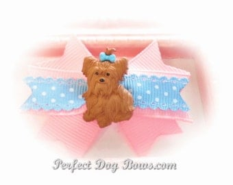 Yorkie Dog Bow, Pink Yorkie Bow, Puppy Bow