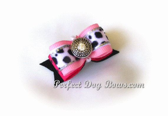Leopard Dog Bow, Pink Dog Bow, Girl Dog Bow, Rhinestone Dog Bow, Fancy Dog Bow, Show Dog Bow, Pet Hair Accessory, Small Dog Bow