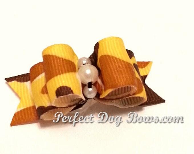 Camouflage dog bow, Hunting Dog Bow, Camouflage Pet Hair Bow, Camo Pet Bow, Camo Dog Hair Bow
