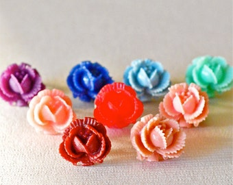 Ruffled Cabbage Rose Resin Stud Earrings, Shabby Chic, Victorian, Retro Studs