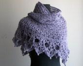 Crochet Lace Shawl Scarf  Wrap Cowl, Stylish Comfort Prayer Meditation, Lavender, Mohair Blend, Women's Fashion, Ready-to-Ship FREE SHIPPING