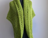 Hand Knit Prayer Meditation Comfort Shawl Wrap, Apple Green, Acrylic Vegan, Ready to Ship, FREE SHIPPING