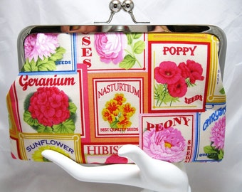 Coupon Organizer Purse Vintage Flower Seed