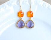 Clemson Jewel Earrings. Orange and Purple. Bridesmaids Earrings.