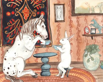 RESERVED for LS - Original Art - Tea with Pony - Watercolor Rabbit Painting