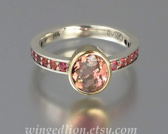 DAPHNE silver & 14k gold ring with pink Tourmaline and sapphires