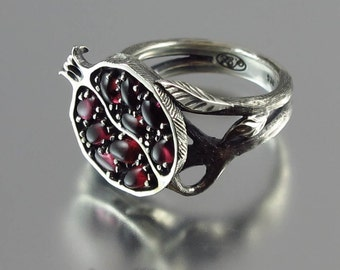 POMEGRANATE garnet silver ring Ready to ship in some sizes