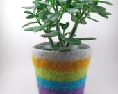 Items Similar To Felted Wool Planter Striped Felted Pot Wool Plant Pot Smoke Gold