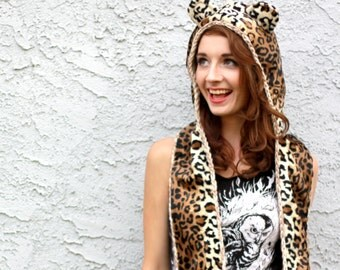 Leopard Scoofie Hooded Scarf w/ Pockets - Fuzzy Soft Fabric & Crocheted Vegan Friendly Acrylic Yarn, Adult Size - READY TO SHIP