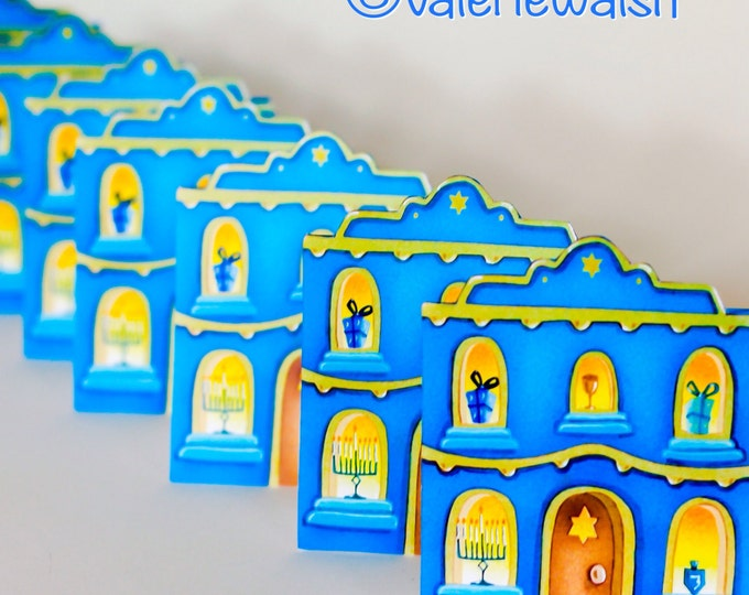 HANUKKAH HOUSE Holiday CARD | Hanukkah House Greeting Card | House Shaped Card for Hanukkah | Hanukkah Painting | Valerie Walsh Cards