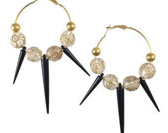 Farrah Spike Earrings - Golden & Black