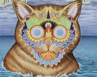 Fine Art Print | Psychedelic Cat | Painting by David Birkey