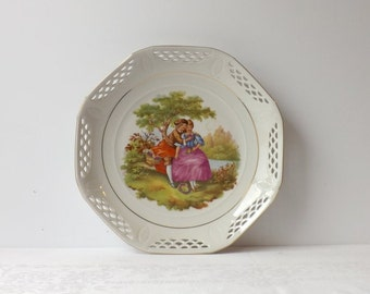 Courting Couple Plate, Vintage Schwarzenhammer Fragonard Dish, Romantic Home Decor, Reticulated Rim