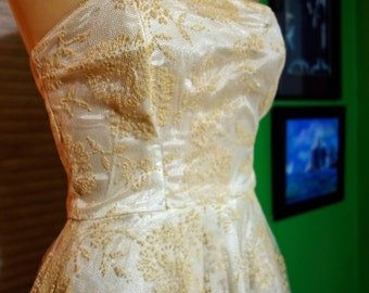 Small 1950s Vintage Wedding Ball Gown White Flocked Details Netting Rockabilly Pin Up Viva Las Vegas Bust 32 Waist 24 Hips Free