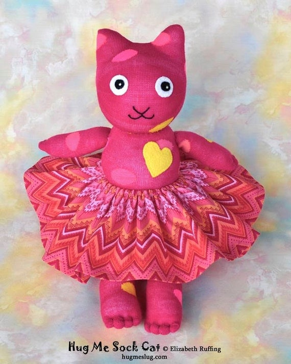 Handmade Sock Cat with Skirt Stuffed Animal Doll Art Toy Hug Me Sock Cat, Personalized Tag, Magenta, Polka Dots Yellow 16 inch Ready-made