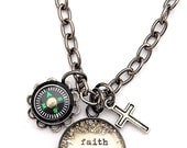 Faith is Her Compass SMALL Charm  Necklace