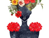 Flower Crown Silhouette Art Print (0001), Dark Botanical Valentine Illustration, 5x7, 8x10, 11x14