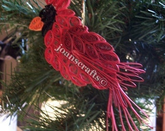 Quilling, Cardinal Ornament, Red Christmas Bird