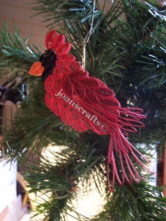 Christmas Decorations Red Birds : Quilling cardinal ornament red christmas bird
