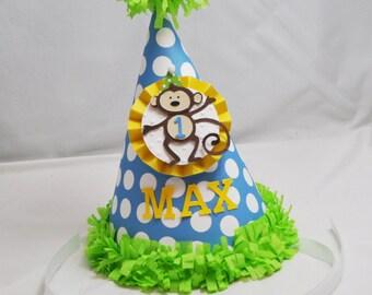 Monkey 1st Birthday Party Hat Boy- Personalized
