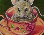 Tea Cup Mouse Miniature Art by Melody Lea Lamb ACEO Print #493