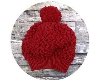 Merino PomPom Lace Slouch Hat in Red. Soft Romantic Knit. Vintage Style. Spring / Fall / Winter Fashion. Handmade in France.