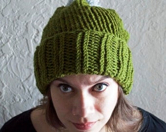 Hand Knitted Soft Hat with Brim and Pom Pom | woodland green | light grey pom pom | knitted | handmade | ribbed | tr