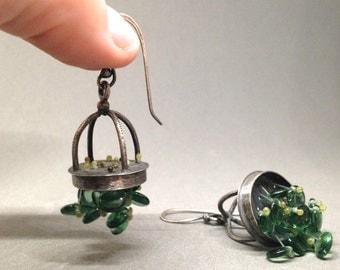 basket chandelier hanging dangle sea foam blue green sterling glass bead cage earrings sculptural statement earring modern art jewelry