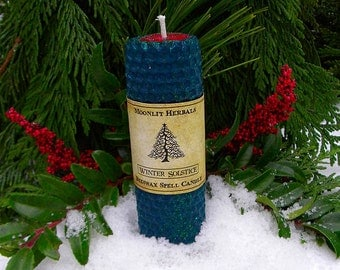 Winter Solstice Rolled Beeswax Spell Candle - Yule, Midwinter, New Beginnings, Reflection, Renewal, Prosperity, Manifesting Goals