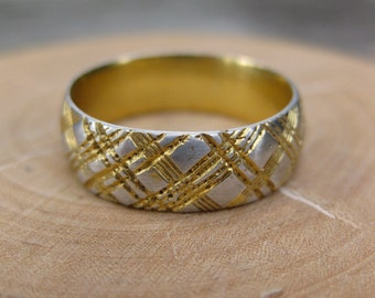 golden PLAID ring 14kt gold plated sterling silver mens sz 8.75